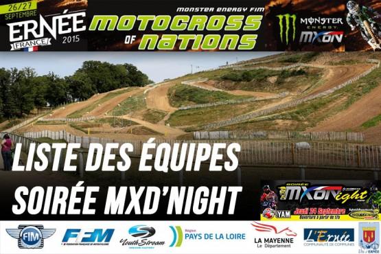 MXDN 2015: Les équipes
